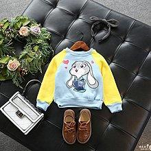 【叮叮親子商城】2018秋冬新款女童百搭可愛加絨抓絨拼色卡通印花兔子保暖衛衣