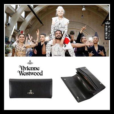 ♔MissyJ英國代購♥ Vivienne Westwood 英倫土星龐克品牌高端黑色天然皮革霧面全牛皮真皮夾女用長夾