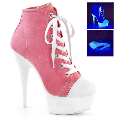 Shoes InStyle《六吋》美國品牌 PLEASER 原廠正品霓虹螢光厚底高跟帆布鞋 踝靴 有大尺碼『粉紅白色』
