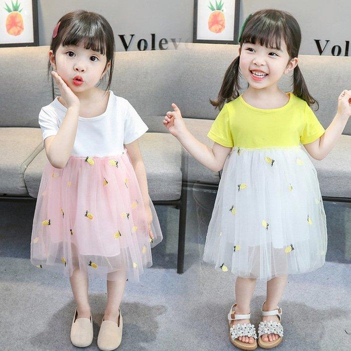 童裝洋氣甜美公主裙2019夏季新款女童中小童可愛洋氣菠蘿網紗裙子萌噠噠女童連衣裙上新啦歡迎選購