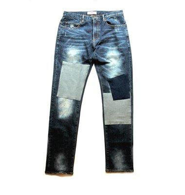 【 PUNX 】PUNX 18AW SPLIT DESTROYED DENIM JEANS 破壞洗水刀割拼接牛仔褲