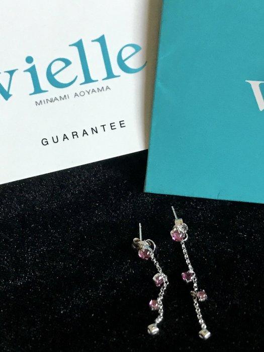 日本品牌 vielle 碧璽 半寶石 水晶 白K抗過敏耳環 出清價1500元