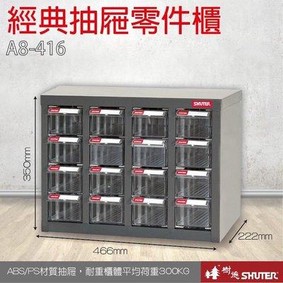 樹德 A8-416 16格抽屜 裝潢 水電 維修 汽車 耗材 電子 3C 包膜 精密 車床 電器【經典抽屜零件櫃】