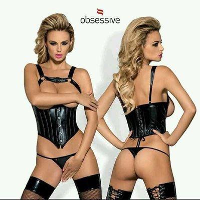 原裝進口-現貨Obsessive Darksy Corset 朋克PU皮托乳吊帶塑身腰封胸衣丁褲