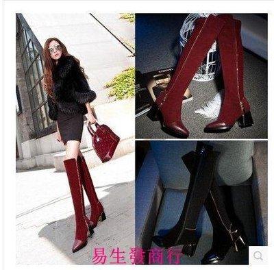 【易生發商行】真皮過膝靴長靴高筒靴子彈力靴高跟粗跟側拉鏈女靴女鞋紅色F6147