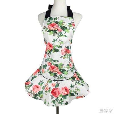 居家家 圍裙時尚全棉帆布玫瑰鬼頭骷髏頭印花女家用圍裙萬圣節禮物