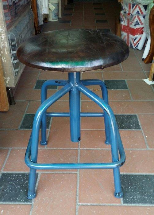 美生活館 全新 工業 LOFT 風格 鐵管 藍色刷舊PVC皮坐面 四腳 吧檯椅 旋轉椅 吧椅 店面 入宅 民宿 拍照美甲