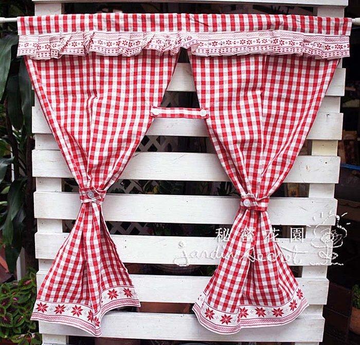 門簾--日本進口鄉村風格子厚磅純棉中開門簾-90*90cm窗簾--四色--秘密花園