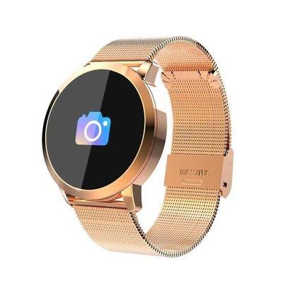 綠光街鋪 輕薄拍照手錶Q8藍芽計步運動超長續航睡眠測彩屏智慧點觸手環 S258