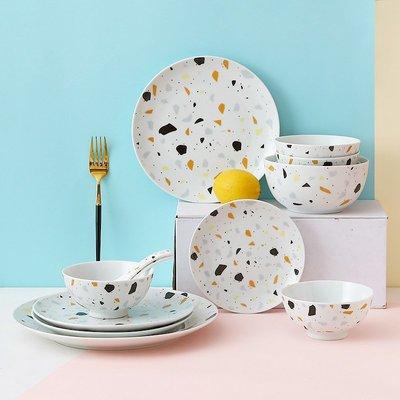 有一間店-創意北歐簡約家用網紅餐具碗碟套裝水磨石盤子個性早餐沙拉碗(規格不同 價格不同)