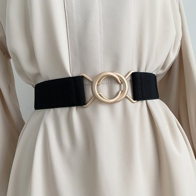 腰鏈皮帶 金屬 環釦 鬆緊帶 細腰帶 腰封 腰帶 【UD009】