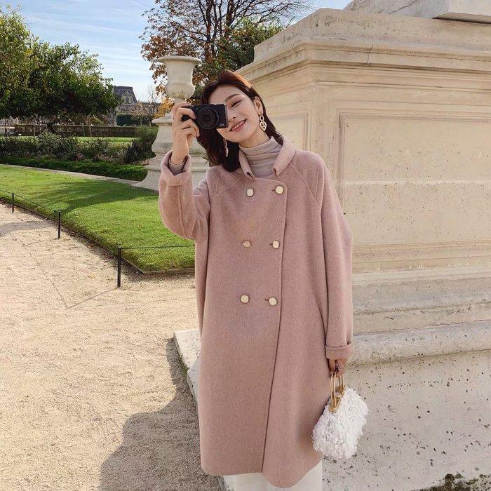 ❤JM SHOP韓風❤簡約氣質小翻領經典繭形全羊毛雙面呢大衣