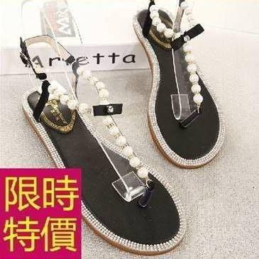 女平底涼鞋水鑽-典型俏麗極簡夏季休閒女鞋子2色55l7[韓國進口][米蘭精品]