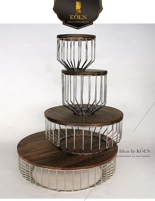 【爵品訂製家具】MF-T1-12 復刻phase鳥籠實木拼花造型茶几、圓几。(多種尺寸可選擇)