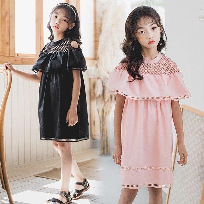 •*~ 辣媽咪衣飾小舖 ~*•❤童裝系列❤K970222韓版大童夏款甜美小女孩荷葉邊露肩鏤空公主裙洋裝