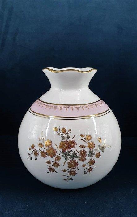 【卡卡頌 歐洲古董】法國老件未用 LIMOGES 利摩日 公爵夫人 粉色 描金 花朵開口 圓潤 花瓶 p1755 ✬