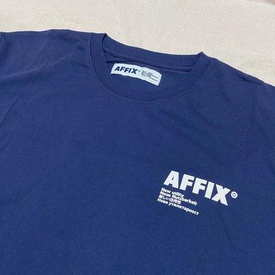 全新 AFFIX Logo print cotton T-shirt 短袖 上衣 深藍 S號
