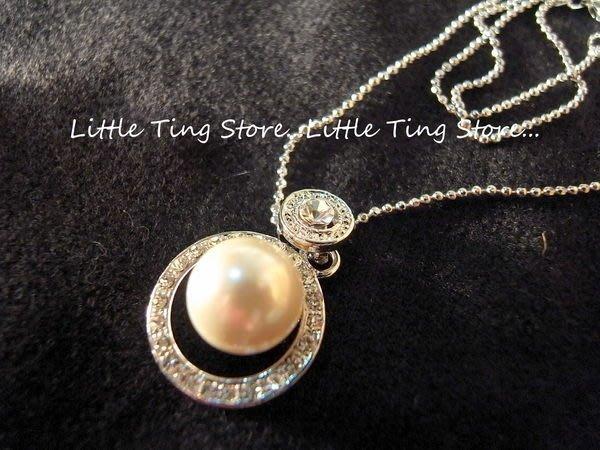 Little Ting Store:生日禮物 12MM簍空圈圈款珍珠項鍊短項鍊頸鍊鎖骨鍊 (兩色系)