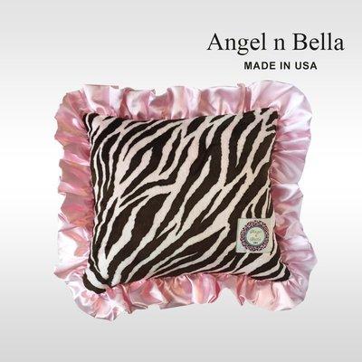 ☆°Angel n Bella.╯☆°【美國製】頂級時尚動物紋花苞抱枕-粉紅斑馬
