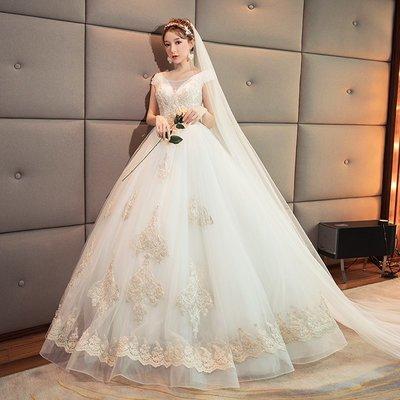 婚紗 禮服 一字肩婚紗禮服2019新款v領韓式大碼齊地新娘結婚顯瘦公主長拖尾