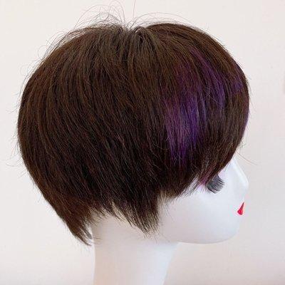 整頂假髮真髮絲短假髮-挑染瀏海直髮自然女假髮2色73vr13[獨家進口][米蘭精品]