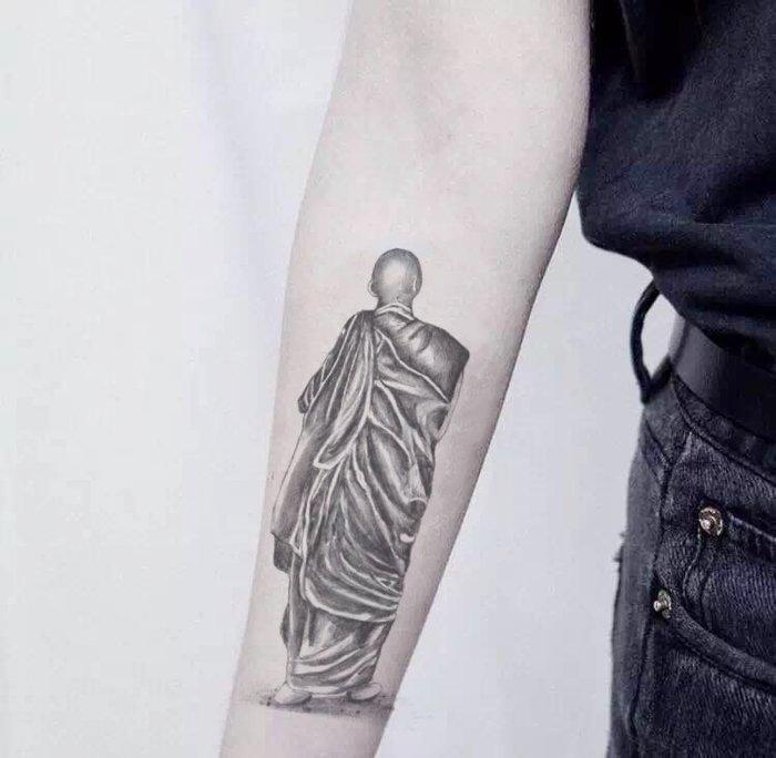 新款紋身貼防水男女持久和尚3d仿真花臂手臂紋身貼紙身體彩繪刺青男女性感小清新原宿風  防水紋身貼刺青貼紙 個性