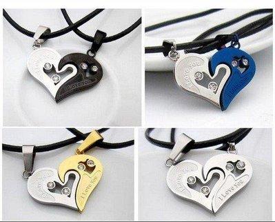 哆啦本鋪 情侶項鏈韓版刻字創意學生愛心鑲鑽情侶項鍊一對 鈦鋼桃心吊墜 男女潮D655