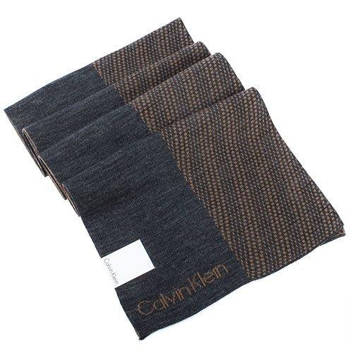 【姐只賣真貨】Calvin Klein CK新款雙色LOGO圍巾(咖啡/淺灰)