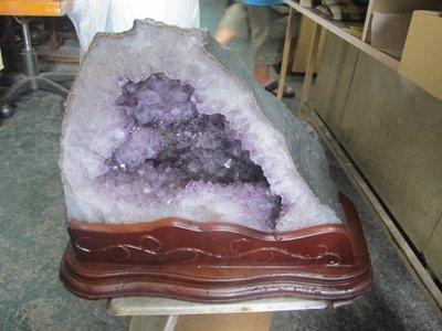 二手舖 NO.4371 天然水晶 紫水晶 瑪瑙晶洞 聚寶盆招財 風水擺件
