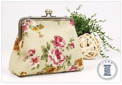 ✿小布物曲✿手作玫瑰口金包- 精巧手工車縫舖棉 進口布料質感超優 粉綠色
