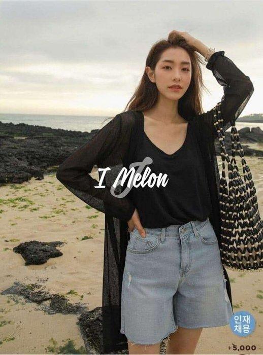 ::: i-MelOn :::100%韓國空運 正韓【即將到貨】薄透開襟長版外套※黑/白色