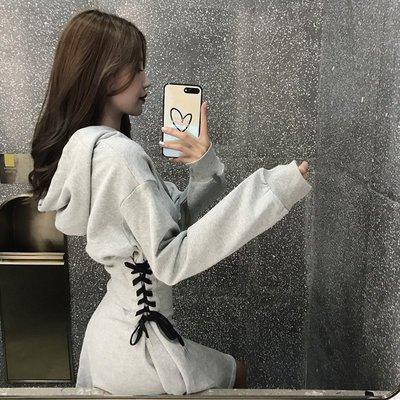 ❤Princess x Shop❤chic氣質連帽長袖連衣裙系帶修身A字裙DL8110263正韓國連線毛衣針織秋冬外套洋