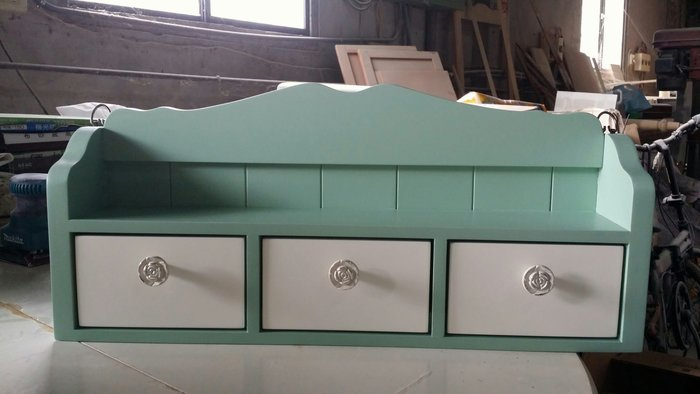美生活館 全新鄉村傢俱訂製 客製化 全紐松原木 雙色 三抽壁櫃 收納櫃 桌上櫃 文具櫃 調味櫃 可修改尺寸顏色再報價