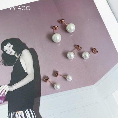 飾品韓國冷淡風極簡小巧迷你精致18k玫瑰金鈦鋼仿珍珠小耳釘耳骨釘女