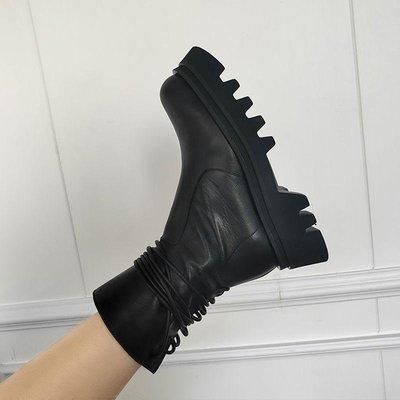 夏季馬丁靴女秋季新款復古側拉鏈短靴英倫風新帥氣厚底中筒靴潮小新惠鴨!ak