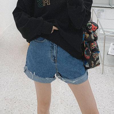 i-Mini 正韓 | 個性褲腳無收邊寬鬆牛仔短褲|SML‧ 韓國連線‧代購‧空運【B01297398hu】