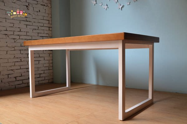 美希工坊 口型餐桌//訂色服務/洗白桌腳/橡木色桌面可耐熱/