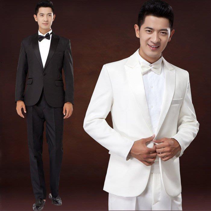 大小姐時尚精品屋~~男士伴郎休閑西服 修身白色黑色兩件西裝套裝~3件免郵