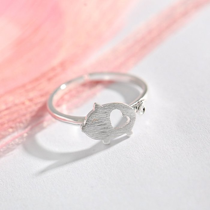 925純銀小豬戒指女可愛韓版甜美小清新動物學生開口食指戒子