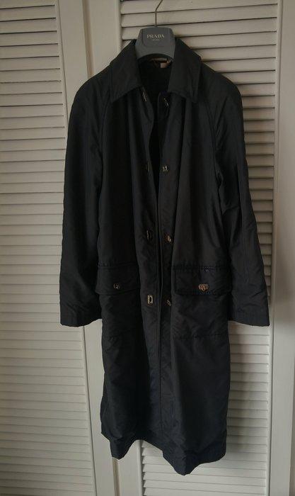 【Salvatore Ferragamo 】金屬馬銜鐵LOGO刻印深藍色oversize大衣風衣(男女可穿)