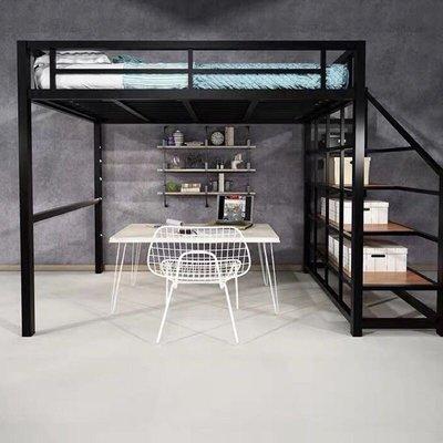 LOFT工業風鐵床帶樓梯床架上下舖床架組五尺子母床
