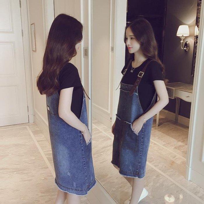 (免運)春夏裝韓版女裝打底衫牛仔背帶連衣裙顯瘦遮肚子藏肉寬松兩件套裝【莉芙小鋪】