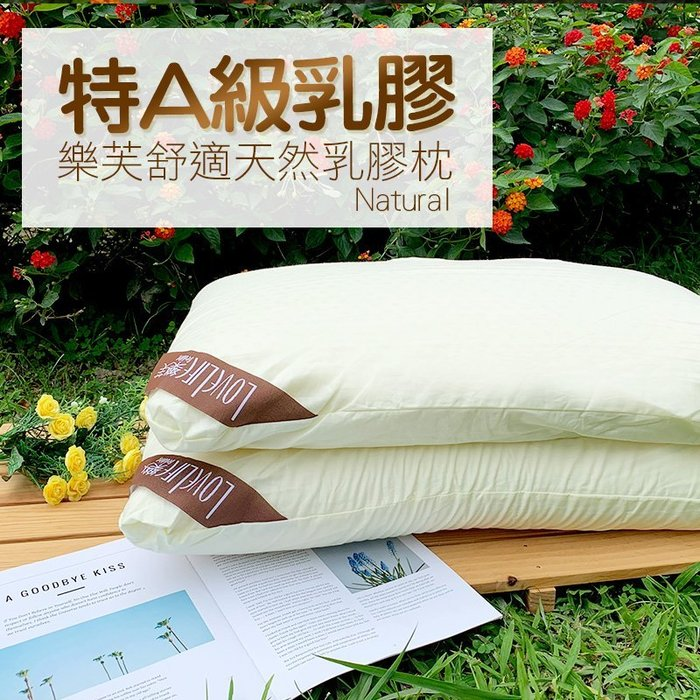 枕頭 / 乳膠枕【樂芙舒適乳膠枕-平面】含一件枕套  100%特A級天然透氣乳膠  戀家小舖台灣製AEB203