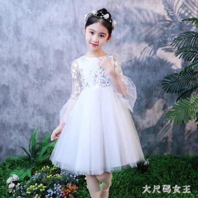 女童禮服  公主裙夏女孩連身裙白色蓬蓬演出服寶寶洋氣碎花裙子 df886