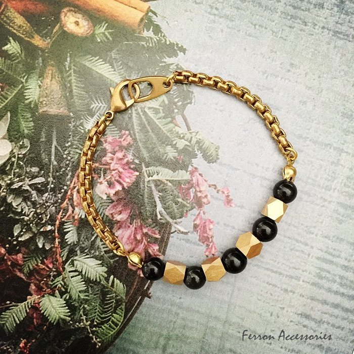Ferron Accessories   F52  黑曜石系列黃銅手鍊