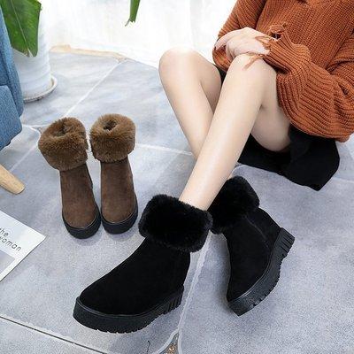 【絕品好店】冬季厚底內增高圓頭側拉鏈防滑中筒短靴時尚純色馬丁靴韓版女鞋