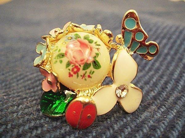全新美國帶回,歐美品牌高質感彩釉瓢蟲蝴蝶花朵造型戒指,低價起標無底價!本商品免運費!