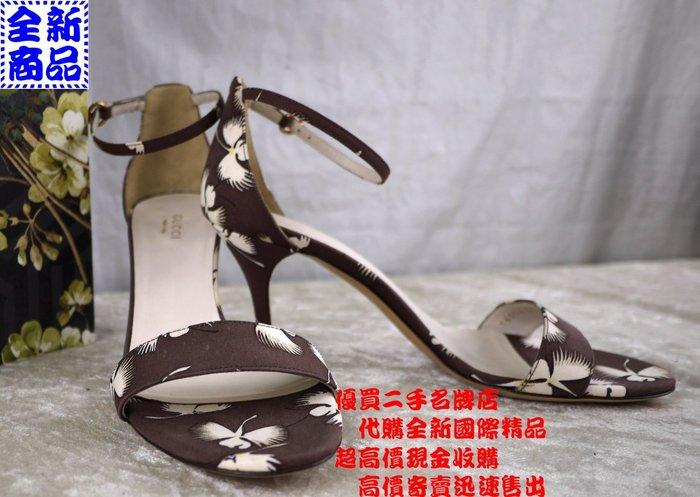 ☆優買二手名牌店☆ GUCCI 咖啡 緹花 花草 花卉 系列 細跟 露趾 涼鞋 高跟鞋 特價品 新同