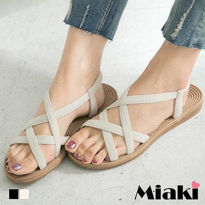 涼鞋歐美簡約雙交叉露趾平底涼拖【S17T084】Miaki