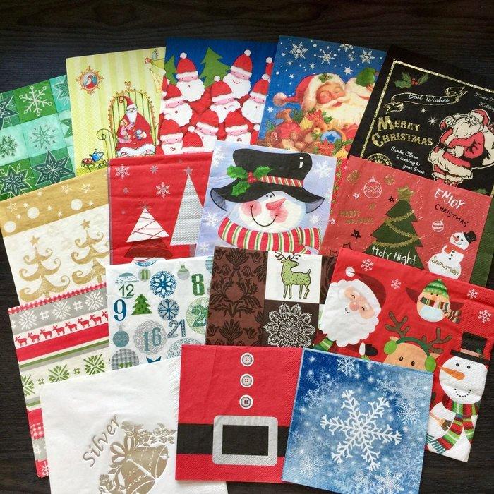 ❤Lika小舖❤33cm....節慶款歐洲進口餐巾紙 蝶谷巴特手工藝品蝶古巴特 聖誕節聖誕老人雪人麋鹿鈴鐺星星雪花聖誕樹